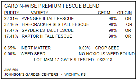 Gard-N-Wise Fescue Label